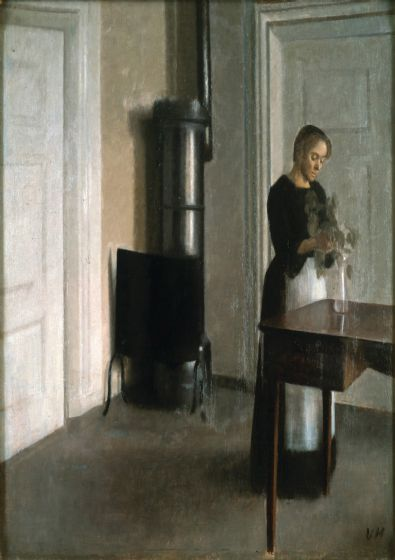 Hammershoi, Vilhelm: Interior of Woman Placing Branches in a Vase on a Table. Fine Art Print/Poster. Sizes: A4/A3/A2/A1 (003038)